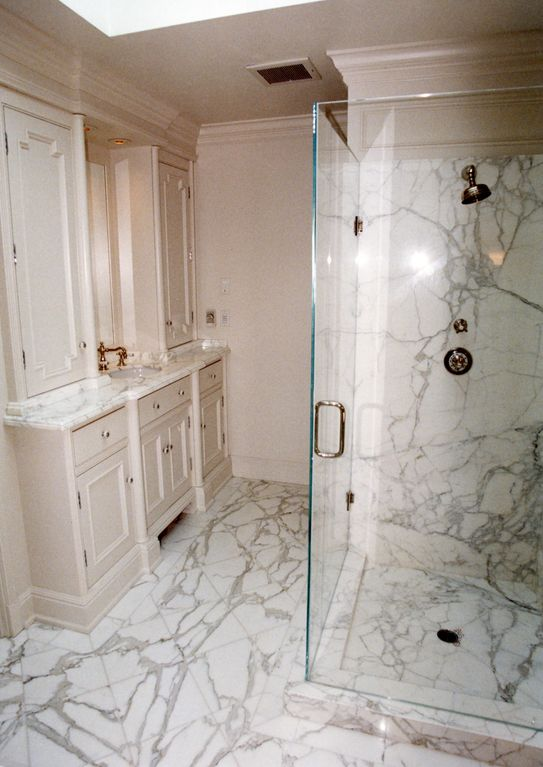 Bl master bathroom beautiful remodel for White carrera marble bathrooms