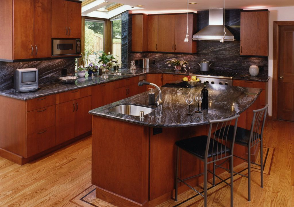 Dark Cherry Cabinets With Granite Countertops